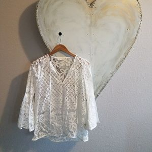 Boho Lace top with ruffle sleeves